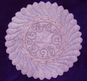 swirl wreath backside trapunto layer
